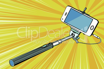 Selfie stick smartphone shooting