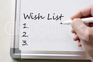 Wish list written on whiteboard