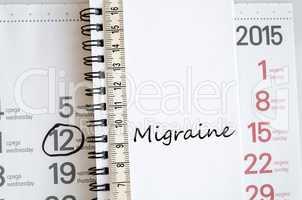 Migraine text concept