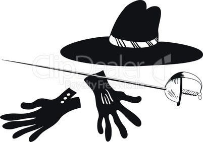 Black hat with gloves and epee