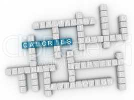 3d image Calories word cloud concept