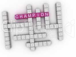 3d image Champion word cloud concept