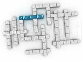3d image Pricing word cloud concept