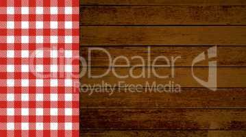 Retro Hintergrund Holz mit Tischdecke rot weiß