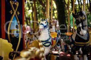 Carousel with Horses on a carnival Merry Go Round