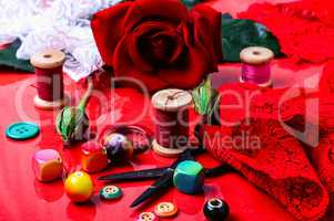 Rose and accessories for needlework and creativity