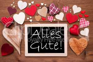 One Chalkbord, Many Red Hearts, Alles Gute Means Best Wishes