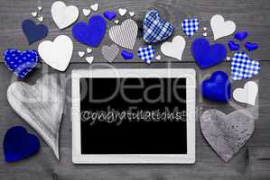 Chalkbord With Many Blue Hearts, Congratulations