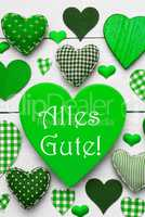 Vertical Card With Green Hearts, Alles Gute Means Best Wishes