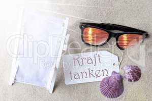 Sunny Flat Lay Summer Label Kraft Tanken Means Relax
