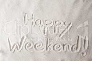 Sand Background With Text Happy Weekend