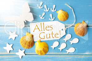 Sunny Summer Greeting Card With Alles Gute Means Best Wishes