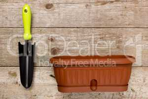 Pot plants and garden tools