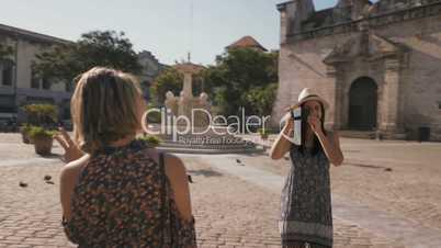 2-Steadicam Tourism In Cuba Women Friends Taking Photo