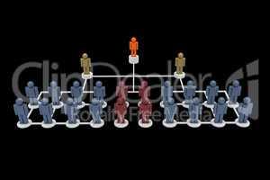 Figures symbolize corporate hierarchy