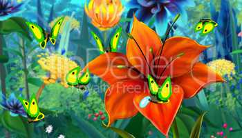 Green Butterfly and Red Flower full color image