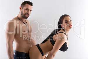 Image of hot couple posing in provocative pose
