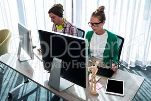 Coworkers on computer