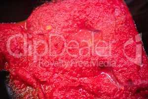 Focus on tomato sauce