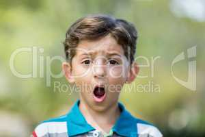 Young boy making a funny faces