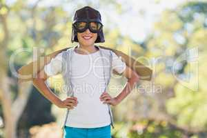 Boy pretending to be an aviation pilot