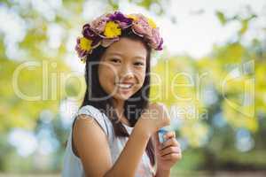 Girl holding bubble wand