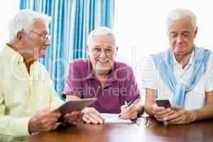 Senior men spending time together