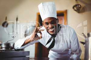Portrait of happy chef making ok sign