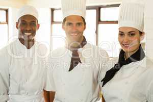 Portrait of three chefs in commercial kitchen