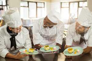 Smiling chefs team holding dessert plates