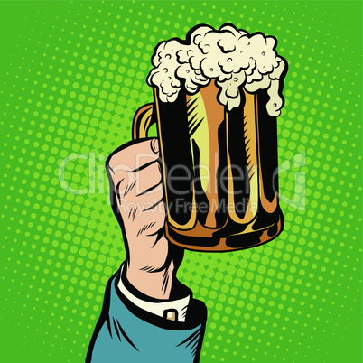 beer mug in hand, pop art retro