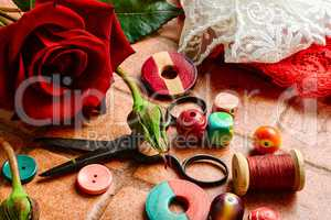 Scissors,beads and thread