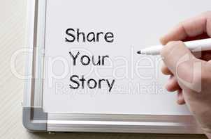 Share your story written on whiteboard
