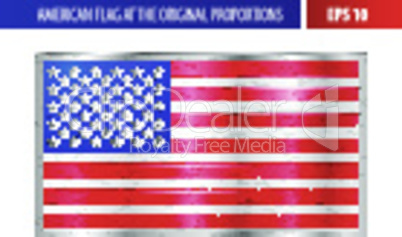 American flag in a metallic silver frame