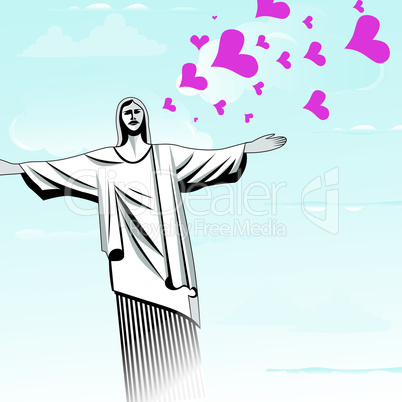 Brazil love God, Christ the Redeemer statue shape vector illustration.