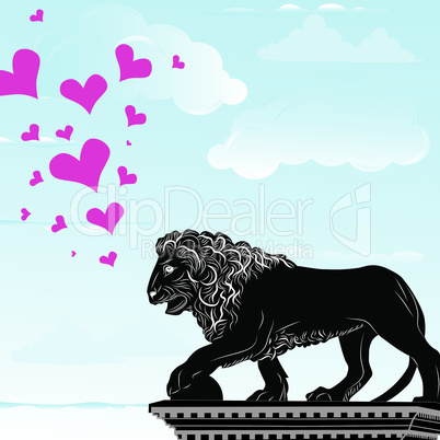 Love heart travel destination background with symbol of Florence,statue of a lion,  Italy, vector illustration