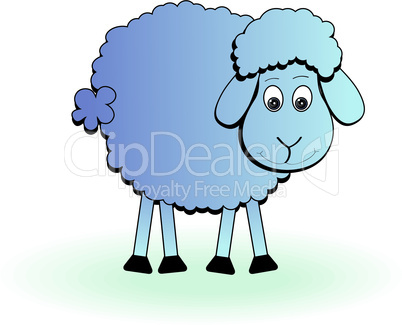 Cartoon sheep, vector lamb. Funny mammal silhouette icon on a white background
