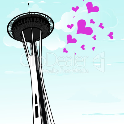Famous Space Needle an observation tower of Seattle, Washington, and a lot of hearts as symbol of love to the Seattle. Vector illustration.