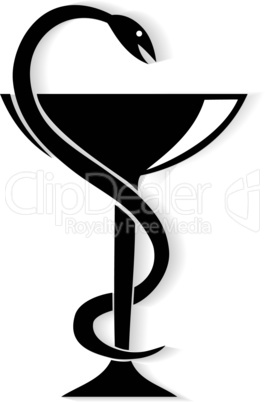 Pharmacy symbol medical snake and cup. Vector emblem for drugstore or medicine .