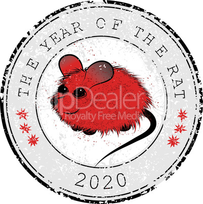 Rat, mouse chinese horoscope animal sign. The vector stamp art image in decorative style