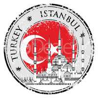Grunge rubber stamp with words Istanbul, Turkey, vector illustration