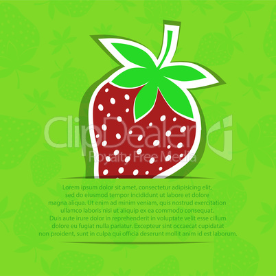 Strawberry in pocket banner on seamless vector pattern. Berry sticker isolated on white background.