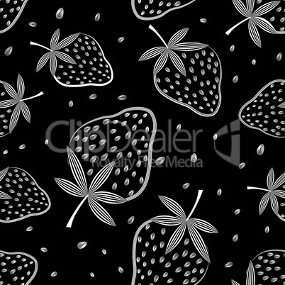 Seamless vector strawberry pattern. Berry isolated on black background.