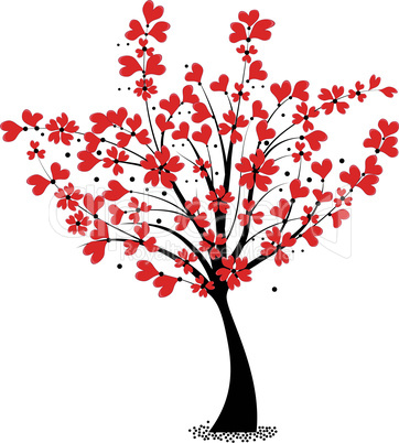 Valentine tree vector, flower shaped of heart. Love card. Wedding background.