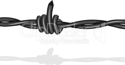 Barbed lookslike fuck off with the middle finger wire seamless background. Vector fence illustration isolated on white. Protection concept design.