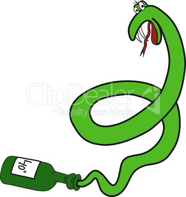 Cartoon green snake from the bottle