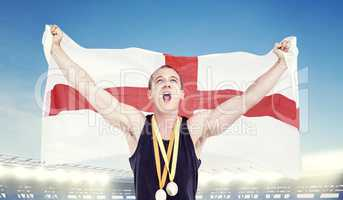 Composite image of athlete posing with olympic gold medals aroun