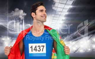Composite image of athlete with portugal flag wrapped around his