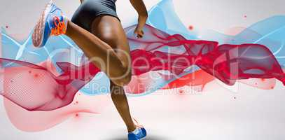 Composite image of sporty woman finishing her run