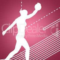Composite image of side view of sporty woman preparing her discu